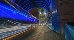 Blue Blur Tower Bridge London DSC_2849 (JKIESECKER) Tags: blue bridge towerbridge london longexposure nighttime nighttimelights travel transportation blur blueblur roads driving