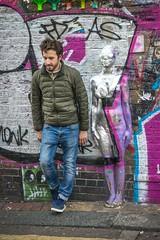 Wallflower (Aliy) Tags: silver sculpture relief lady bricklane london man wall streetphotography candid art streetart wallflower