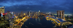 Panorama of Singapore cityscape at dusk (anekphoto) Tags: singapore marina bay sands business cityscape landscape twilight skyline city night architecture building modern district asia evening sand landmark skyscraper view water high dusk reflection famous travel urban pool tourism tower panoramic scene asian financial panorama illuminated downtown hotel sky art scenery light outdoors sea office harbor scenic shadow river