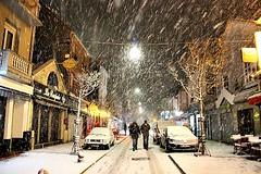 Let it snowwwww! (Peter Denton) Tags: street snow town urban winter hiver city letouquet france europe europa eu ruedemetz weather night ©peterdenton canoneos100d nordpasdecalais