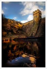 Nature And The Dam (OATH Photography by Alison Richards) Tags: nature trees leaves flowers dam reservoir water reflections sky clouds sun warmth bricks winter autumncolours reds yellows greens blues outdoors derwent ladybower derbyshire peakdistrict manmade painterly derbyshirepeakdistrict englandunitedkingdom