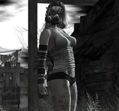 - the prophecy is upon us - (kes.myas) Tags: zombie prophecy apocalypse postapocalypse gasmask mask survival blackandwhite bw thewastelands skittish