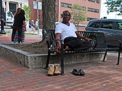 MaldenLoafersandBoots (fotosqrrl) Tags: malden massachusetts streetphotography urban pleasantstreet mainstreet maldensquare bench shoes people sit sitting seated