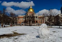 (Helen Mulvey) Tags: landscape fun architecture urban city d5100 nikon winterscene massachusetts snowman bostoncommon boston massachusettsstatehouse