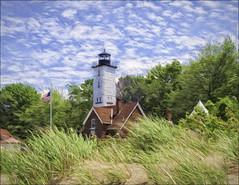 Lake Erie Lighthouse (danielgweidner) Tags: lakeerie landscape nik nikcolorefx ohio painting s120 vacation topaz photoart canons120 lake historiclandmark nativegrasses