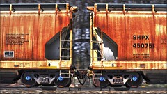 Covered Hoppers (Images by A.J.) Tags: train railroad railway covered hopper rail railcar car freight freightcar rolling stock transportation carriage artistic rust
