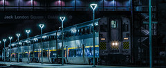 final capitol train for the night (pbo31) Tags: eastbay alamedacounty oakland color night daek black march 2019 boury pbo31 panorama large stitched panoramic train amtrak station jacklondonsquare capitolcorridor platform rail blue