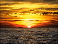 Sunset at Santa Susanna (Luc V. de Zeeuw) Tags: clouds coast island mediterranean sea ship sun sunset water waves santasusanna catalunya spain