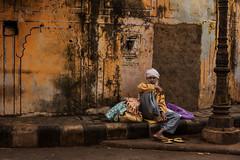 Purani basti. Jaipur. Rajasthan. India, (Tito Dalmau) Tags: portrait street old city wall yellow man turban white jaipur rajasthan india