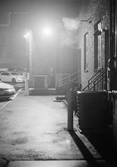 untitled-19 (dvlmnkillatron) Tags: 35mm film kodak bw selfdeveloped analog night evening champaign kodaktmaxp3200 pushed 6400 fog backdoor steam entrance