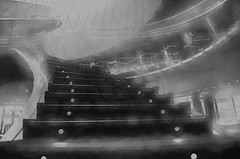 """""""I Swear.  I'm Seeing Stairs in My Dreams. (Photography by Sharon Farrell) Tags: steps stepsandstairs staircase stairs stairporn staircases stairscape stairway stairscapes stairwell windingstaircase grandstaircase fultonstreet fultonstation fultoncenter fultontransportationcenter fultontransportationhub newyork newyorkcity fultontrainstation fultonstreetsubwaystation nyc blackandwhite bw noiretblanc smudge"""