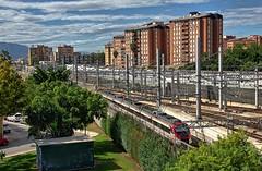 "RENFE ""Civia"" Class 464/2 Cercanías EMU No. 464-720 at Malaga on 15 Oct 2018 (Trains and trams eveywhere) Tags: renfe spain emu commuterservices cercanías caf electric train railways espana alsthom bombardier siemens civia malaga flats apartmentblock"