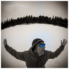 Run away! (_Matt_T_) Tags: selfie dailyinfebruary winter ice storytelling hiver frozen snow fiction bw glace smcpk17mmf40fisheye neige hamilton ontario canada ca