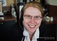 Nikki (oterrason) Tags: woman girl barista coffeeshop smile cafe espresso coffee shop portrait candid leicanocticrondg425mmf12asph panasonic lumixdmcgx7