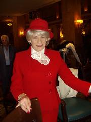 "No More ""Party Animal"" Look For Me (Laurette Victoria) Tags: lady woman laurette red suit hat blonde pfisterhotel"