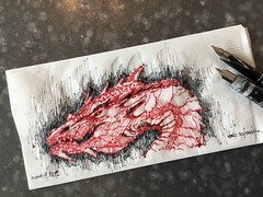 Napkin dragon (schunky_monkey) Tags: fountainpen penandink ink pen illustration art drawing draw sketching sketch napkin creature fantasy mythicalbeast firebreather dragon dragons