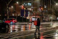 """Caviar"" (wwward0) Tags: car cc delivery logo manhattan night nyc o outdoor person sidewalk sign snow soho street text trafficlight walking wet winter wwward0"