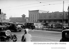1931  broadway - construction site of Post office with Dean street in background (albany group archive) Tags: 1930s old albany ny vintage photos picture photo photograph history historic historical