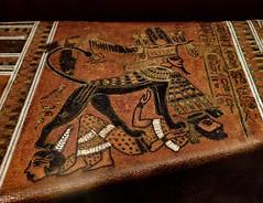 Another Closeup of artwork on a triangular bow case found containing three composite bows 18th dynasty New Kingdom Egypt (mharrsch) Tags: kingtut tutankhamun artifact treasure exhibit tomb egypt 18dynasty newkingdom discoveryofkingtut omsi oregonmuseumofscienceandindustry portland oregon mharrsch