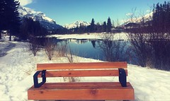 Lonely Seats ..... (Mr. Happy Face - Peace :)) Tags: hbm bench emptyseat rockies canmore alberta canada albertabound art2019 hiking snow pathway winter mountains