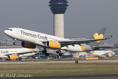 G-MDBD Airbus A330-200 Thomas Cook Manchester airport EGCC 27.02-19 (rjonsen) Tags: plane airplane aircraft aviation airliner takeoff departure liftoff rotation tower runway airside