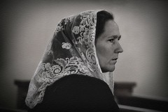 Woman in Mantilla (Christina's World!) Tags: candidportrait candid streetphotography portrait veil mantilla monochrome blackandwhite bw mood sadness woman textures profile bestportraitsaoi