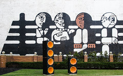Rock on! (Rabican-BUSY) Tags: cleveland rockandrollhalloffame downtown ohio speakers orange mural graffiti urban rockroll rockbox painting colorful green rockandroll people artistic fence happyfencefriday hff