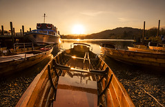 Adventure Awaits! (Tracey Whitefoot) Tags: 2019 tracey whitefoot april lake windermere district lakes waterhead pier gold golden sunset cumbria ambleside boats adventure awaits