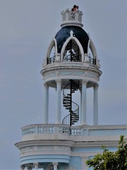 Cienfuegos, Cuba, Day 6 -- Caribbean Cruise Vacation, Parque Jose Marti, Micro Observation Deck (Mary Warren 12.5+ Million Views) Tags: cienfuegos cuba carribeancruise hollandamerica vacation historic architecture building tower metal stairs spiral