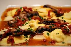 Cheese raviolis with wild mushrooms (corineouellet) Tags: homemade good yumyum tasty yummy canonphoto canon focus plating mushroom cheese raviolis pasta food