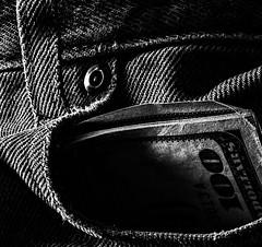 Pocket Money (Wes Iversen) Tags: blackwhite grandblanc macro macromondays michigan tokina100mmf28atxprod beltloops bluejeans cloth jeans loops money monochrome pocket river textures