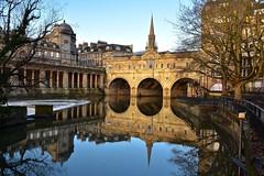 Liquid Gold (Nige H (Thanks for 15m views)) Tags: city cityscape bath bridge pulteneybridge england river riveravon reflection winter liquidgold