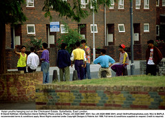 """Asian Youths 2 (hoffman) Tags: bangladesh leisure moslem muslim young asian black estate fashion flats forsalesign gang gesture group horizontal housing loitering outdoors street style talking teenagers waiting youth davidhoffman wwwhoffmanphotoscom london uk davidhoffmanphotolibrary socialissues reportage stockphotos""""stock photostock photography"""" stockphotographs""""documentarywwwhoffmanphotoscom copyright"""