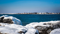 Rocks covered by ice/snow on the sea shore. (jgaosb) Tags: jaygao jones beach newyorkcity winter cold ice snow seashore blue white ocean interesting famous best most beautiful romantic cute