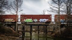 Boxcar tags 01 (issafly) Tags: arkansas trainart nikon nikkor1424mm d500 graffiti littlerock boxcar streetart littlemaumelleriver fuga