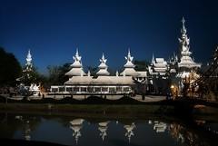 White Temple, Chiang Rai (ValterB) Tags: seasia nikon d90 valterb thailand chiangrai white blue sky skyline reflection building water waterreflection happyplanet asiafavorites landscape urban tree temple