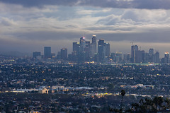 Downtown Los Angeles from Kenneth Hahn State Recreation Area (SCSQ4) Tags: california cityscape cloudy donutstreetmeet downtownlosangeles gloomy kennethhahnstaterecreationarea losangeles morning twilight landscape