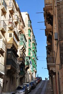 The steep streets of Valletta