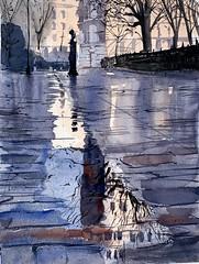 Paris after the rain - watercolor on paper (alexhillkurtzart) Tags: paris watercolor