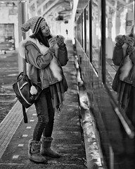 道中ご無事に (gro57074@bigpond.net.au) Tags: nikor 70200mmf28 guyclift steamlocomotive hokkaido kushiro 2019 february monochrome monotone mono blackwhite bw f28 70200mmf28gedvrii afsnikkor afsnikkor70200mmf28gedvrii d850 nikon japanese japan woman candid bonvoyage
