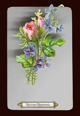 Glückwunschkarte mit einer ausklappbar befestigten Oblate (altpapiersammler) Tags: alt old vintage gruskarte oblate glanzbild card karte grus grüse greeting beweglich blume blumen flower rose veilchen