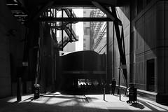 Pindar Street (cybertect) Tags: broadgate carlzeissplanart50mmf14mm cityoflondon ec2 exchangehouse london londonec2 natwesttower pindarstreet richardseifert som skidmoreowingsandmerrill sonya7ii tower42 architecture blackwhite blackandwhite gate monochrome shadow silhouette