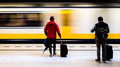 Travellers (glukorizon) Tags: beweging centrum delft geel koffer langesluitertijd longexposure man movement nederland perron platform railwaystation slowshutterspeed station suitcase train trein twee two white wit yellow zuidholland