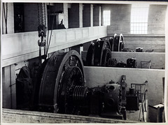 Caulfield Substation showing Siemens 3,000 k.w. Rotary Converters and portion of Operating Gallery. (Public Record Office Victoria) Tags: railways train electrification blackandwhite archives victoria caulfield substation operating gallery machinery 1919