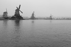 Zaanse Schans (kwphotos.com) Tags: windmills river holland zaanse schans restored travel black whtie bw blackandwhite monochrome zaan zaandam town tourist landscape seascape kwphotos overcast gray outside outdoors netherlands