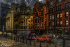 Peter Street, Manchester (Kev Walker ¦ 10 Million Views..Thank You) Tags: architecture building city england manchester panoramic sky town water art background bridge britain buildings business canal castlefield center centre cityscape design downtown dusk europe european great kingdom landmark light metropolitan modern night places quays quayside reflection salford skyline skyscraper square symbol tourism tower travel twilight uk united urban view yellow taxi bus transport rain reflections streetlights