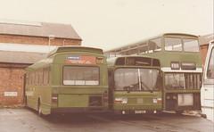 Acq. photo;  Leyland Nationals  NPD170L / NPD143L & Bristol VR OWE281K , c Jan 1984 (busmothy) Tags: owe281k londoncountry hastingsanddistrict npd170l npd143l lnb70 lnb43 leylandnational bristolvr eastlancs