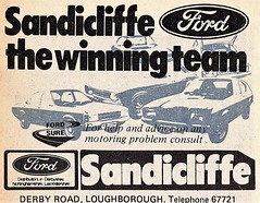 1982 ADVERT - SANDICLIFFE FORD - DERBY ROAD LOUGHBOROUGH (Midlands Vehicle Photographer.) Tags: 1982 advert sandicliffe ford derby road loughborough