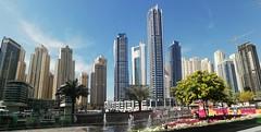 Dubai Marina, UAE... (essam_haffar) Tags: uae unitedarabemirates dubai tower buildings cities sky bluesky outdoor horizontal panorama clouds dubaimarina