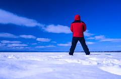 Splash of red (LEXPIX_) Tags: selfie red jacket color blue white snow snowscape winter ladscape frozen lake isolation windy tnf the northface sun sunny adk new england nikon z6 35mm 18s lexpix